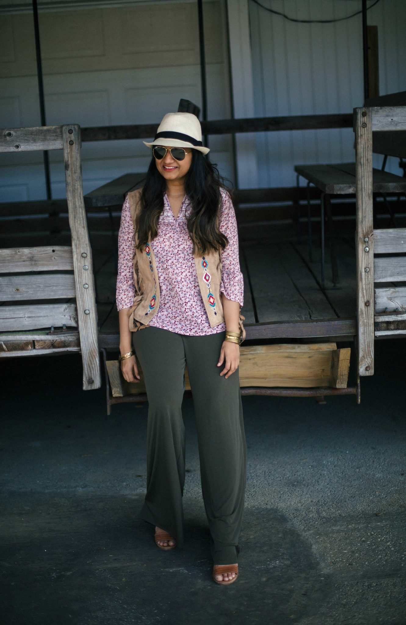 abercrombie-embroidery-pink-blouse - How To Wear Khaki featured by popular modest fashion blogger, Dreaming Loud
