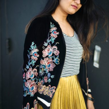 how-to-wear-embrodery-bomber-jacket - SheIn Gold Pleated Midi Skirt styled by popular Ohio modest fashion blogger, Dreaming Loud