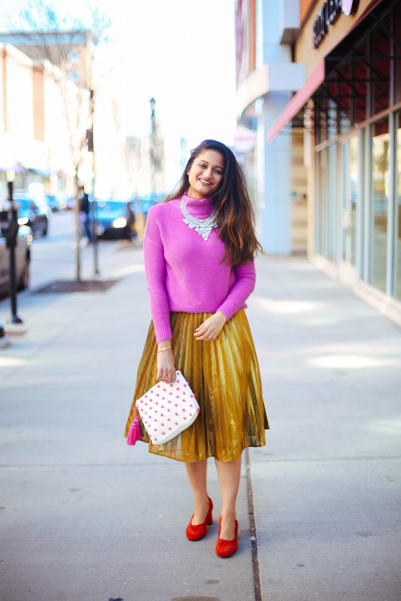 how-to-wear-gold-pleated-skirt - Gold Pleated Midi Skirt styled by popular Ohio modest fashion blogger, Dreaming Loud