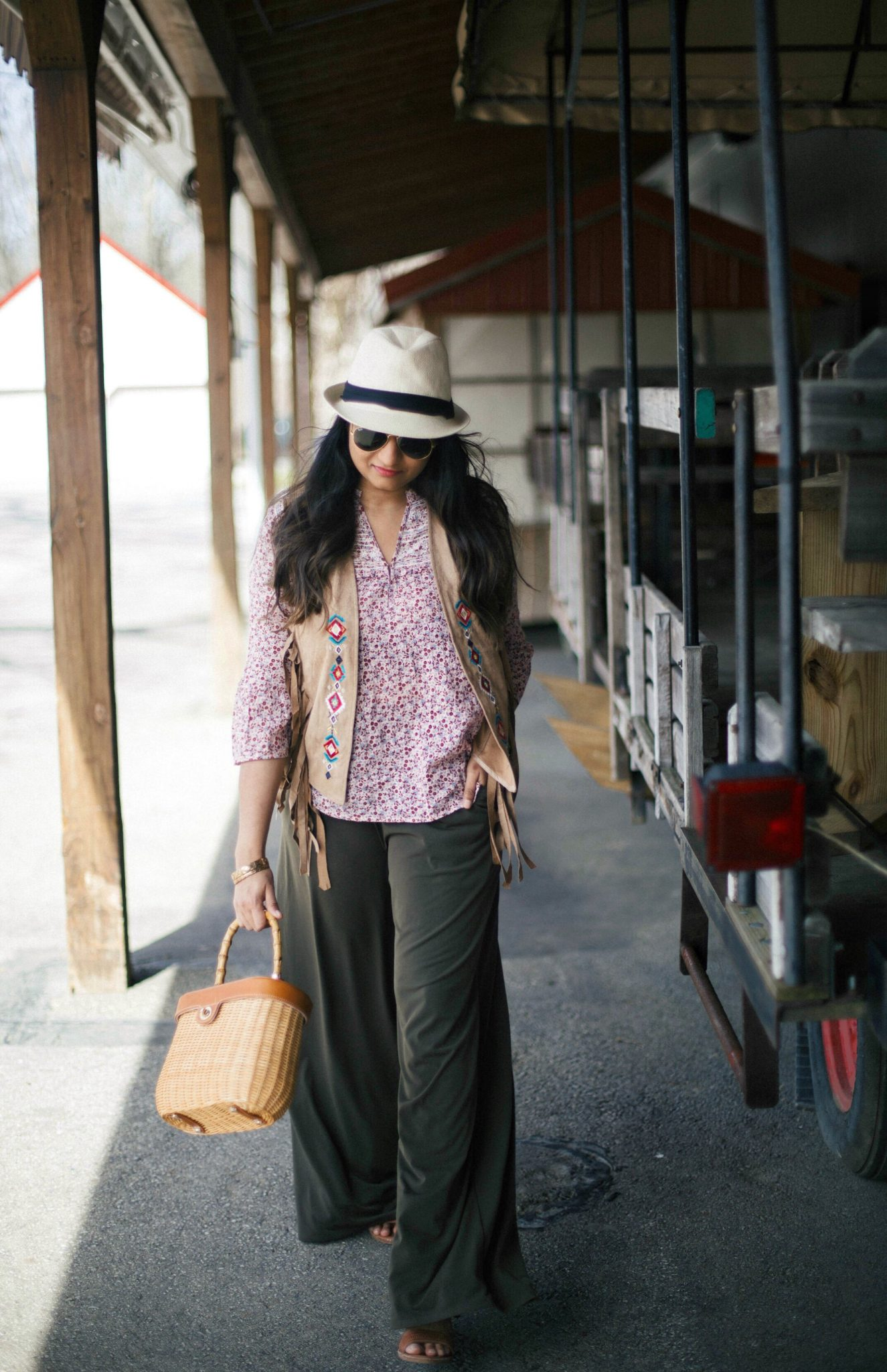 jmclaughlin-ava-wicker-bamboo-handle-bag - How To Wear Khaki featured by popular modest fashion blogger, Dreaming Loud