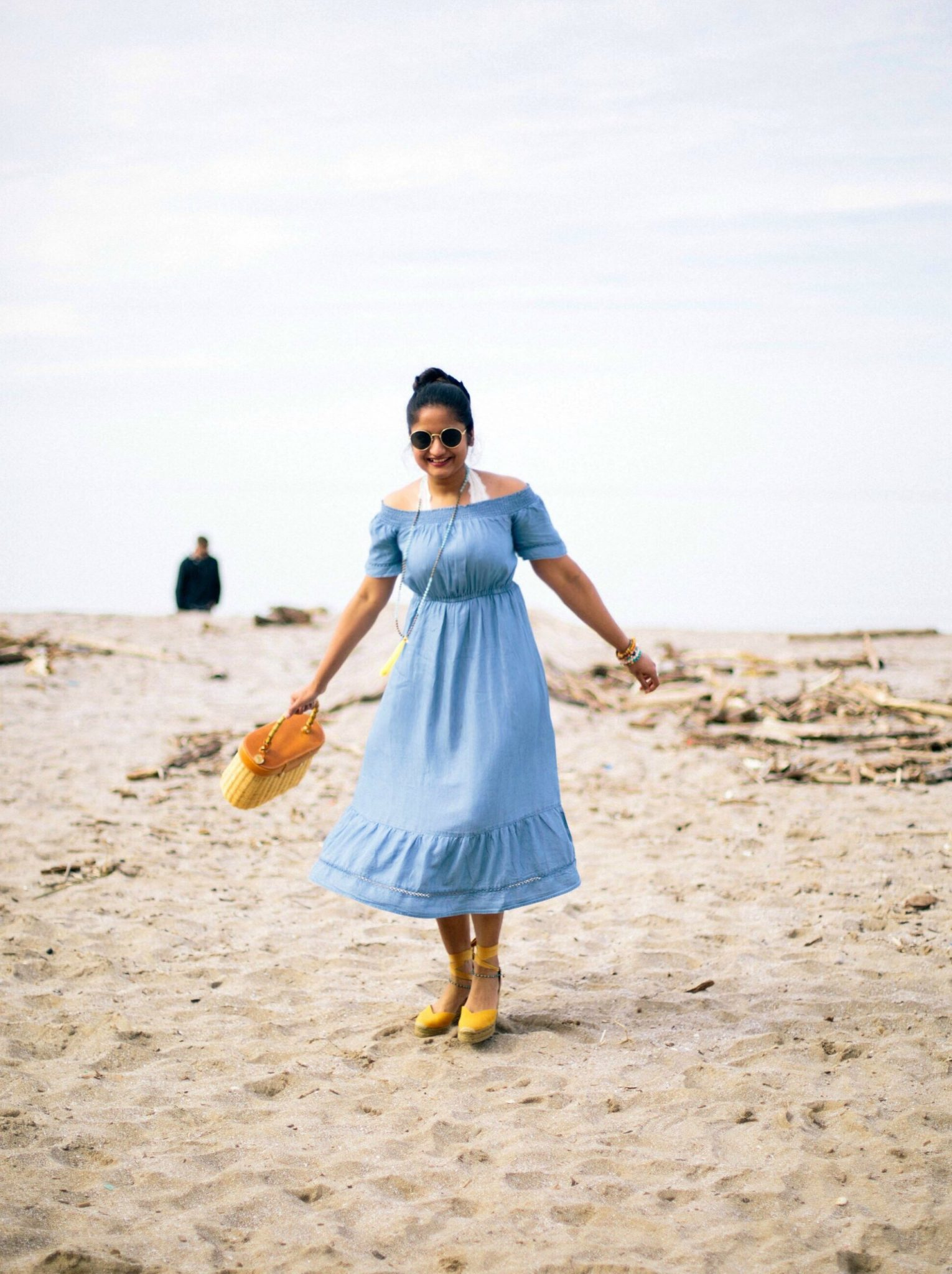 old-navy-OFF-SHOULDER-CHAMBRAY-TENCEL-dress-1-2 - The Best Spring Summer Dresses featured by Ohio modest fashion blogger, Dreaming Loud