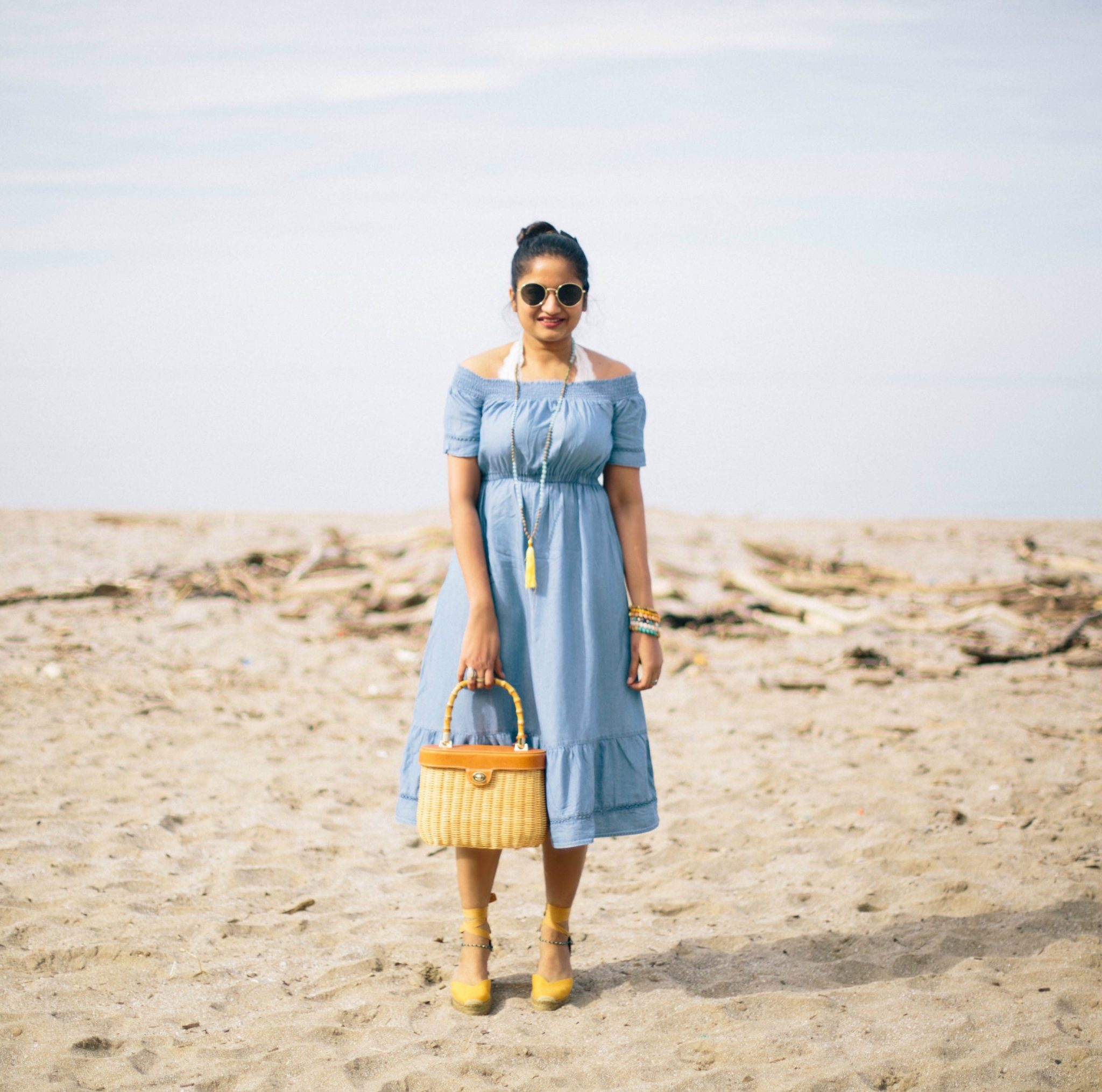 old-navy-OFF-SHOULDER-CHAMBRAY-TENCEL-dress-2 - The Best Spring Summer Dresses featured by Ohio modest fashion blogger, Dreaming Loud