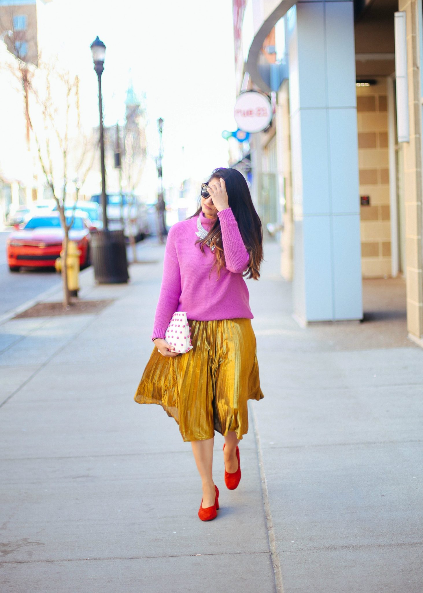 shein-Yellow-Pleated-A-Line-Midi-Skirt - SheIn Gold Pleated Midi Skirt styled by popular Ohio modest fashion blogger, Dreaming Loud