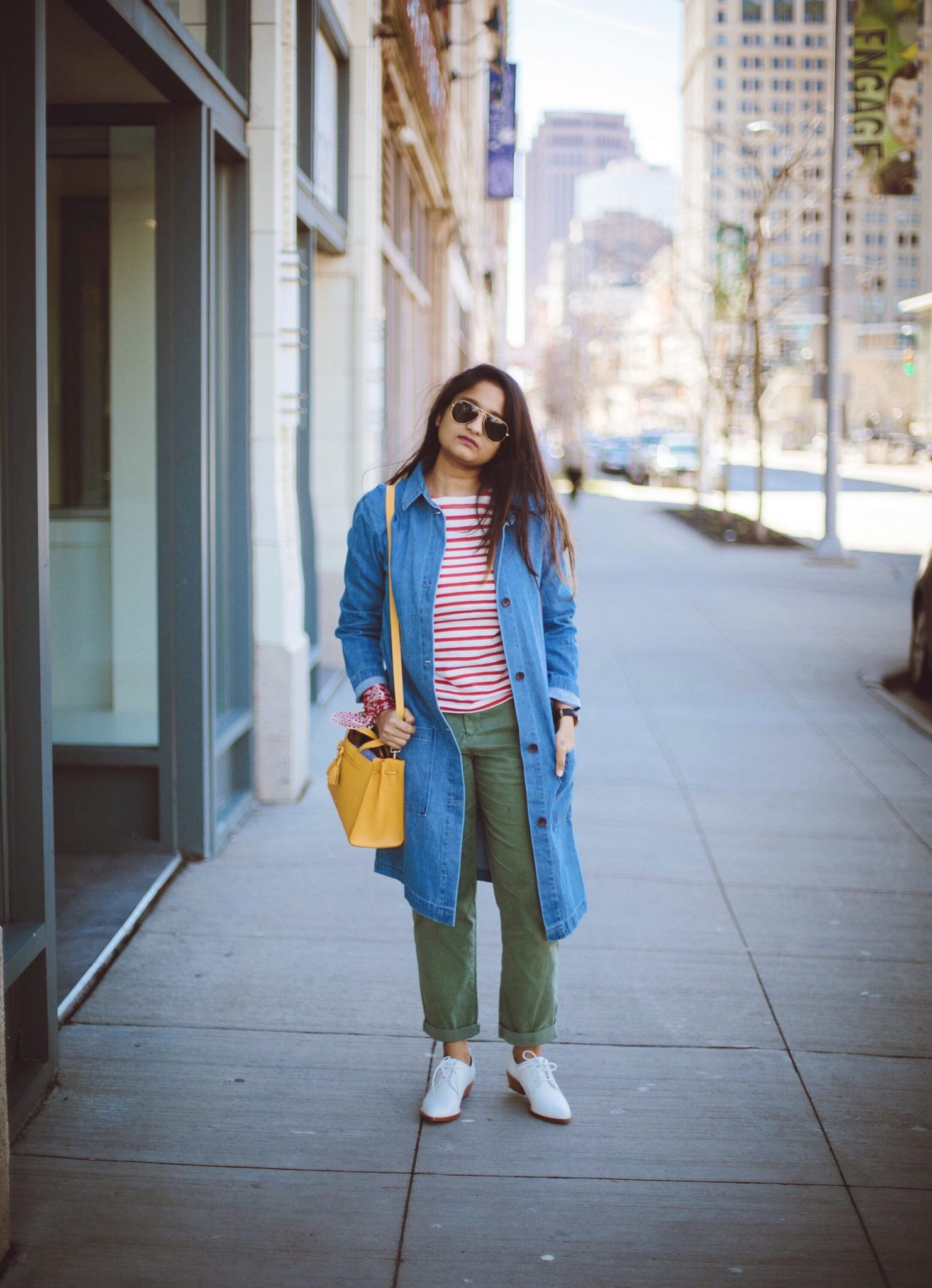 sierra-trade-post-FOR-THE-REPUBLIC-LONG-JEAN-JACKET-1 - How To Wear Khaki featured by popular modest fashion blogger, Dreaming Loud