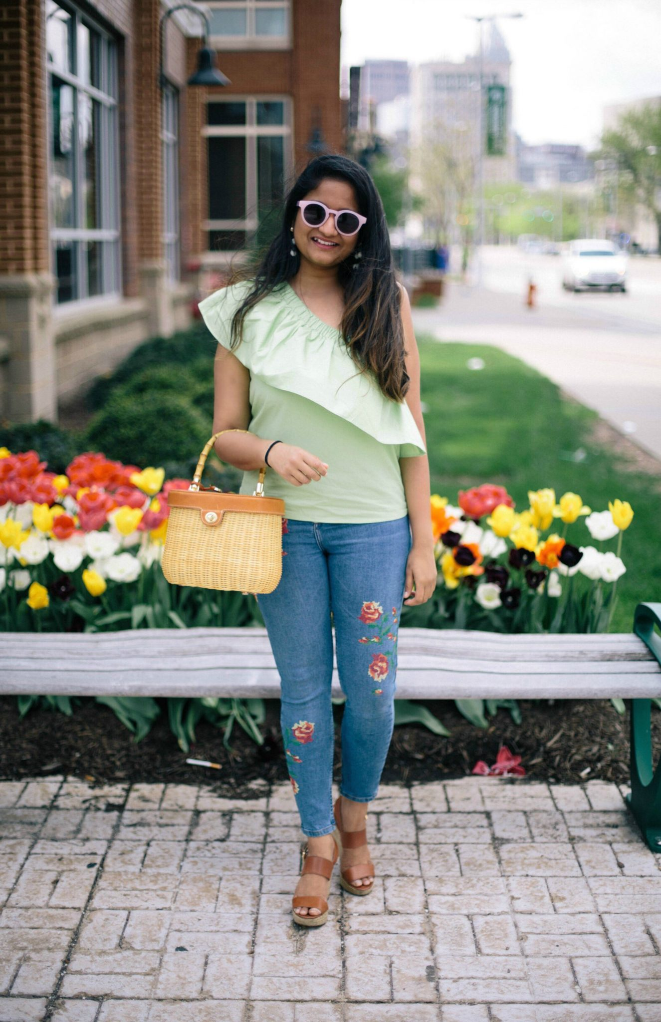 Ruffle-one-shoulder-trend-dreaming-loud -  How To Style a One Shoulder Top featured by popular Ohio modest fashion blogger, Dreaming Loud