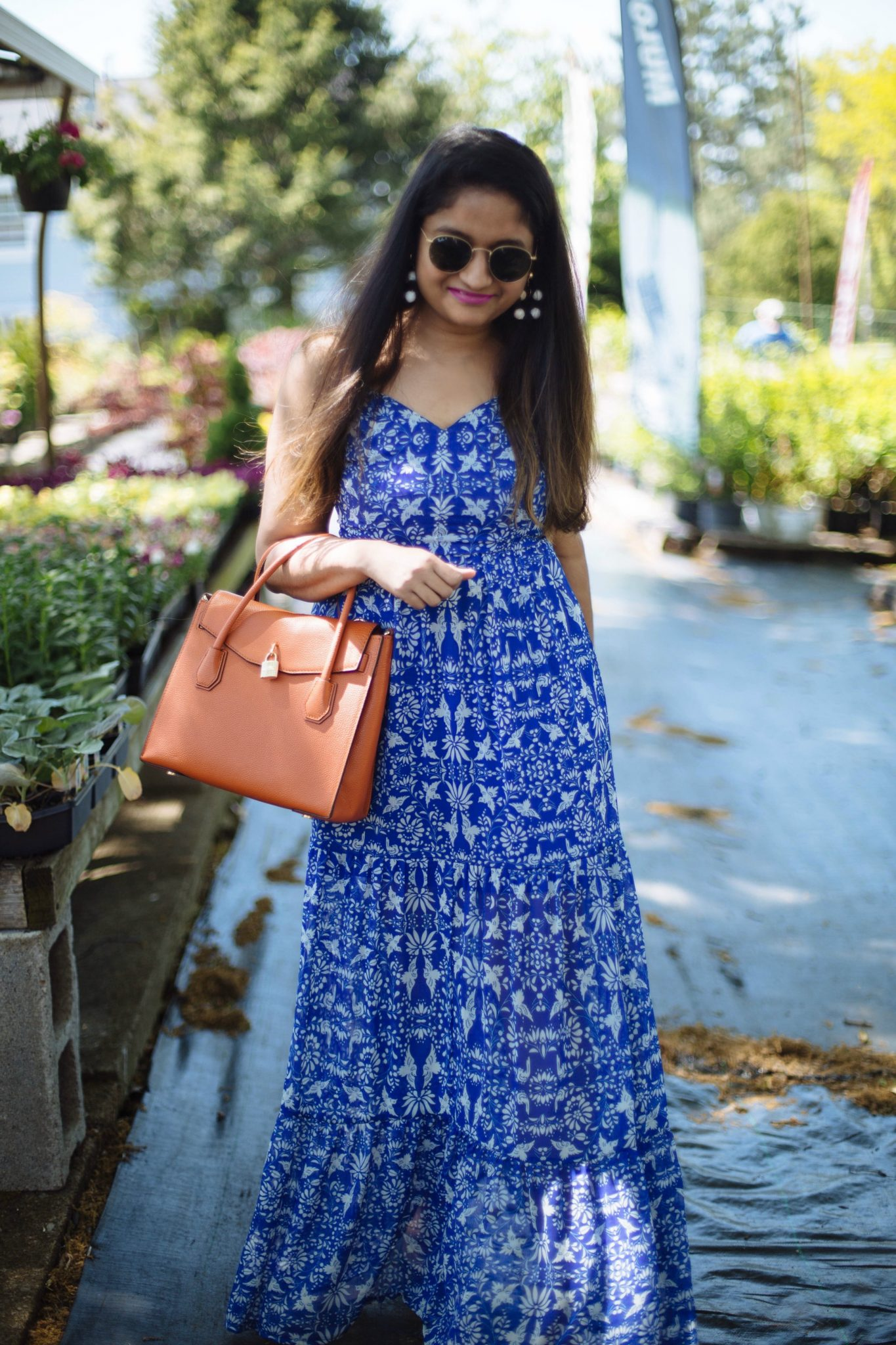 White and Blue maxi dress for summer