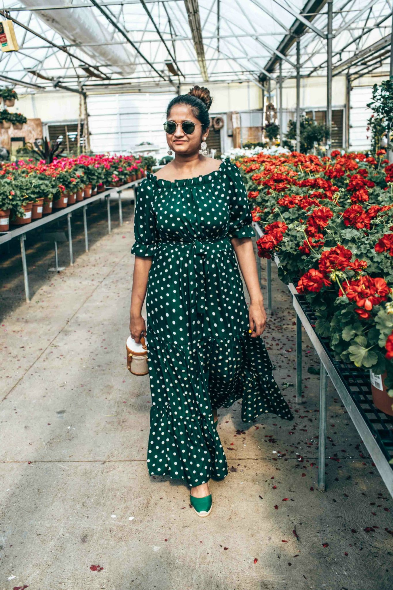 wearing Shein Polka Dot Bardot Neckline Tie Waist Dress in green
