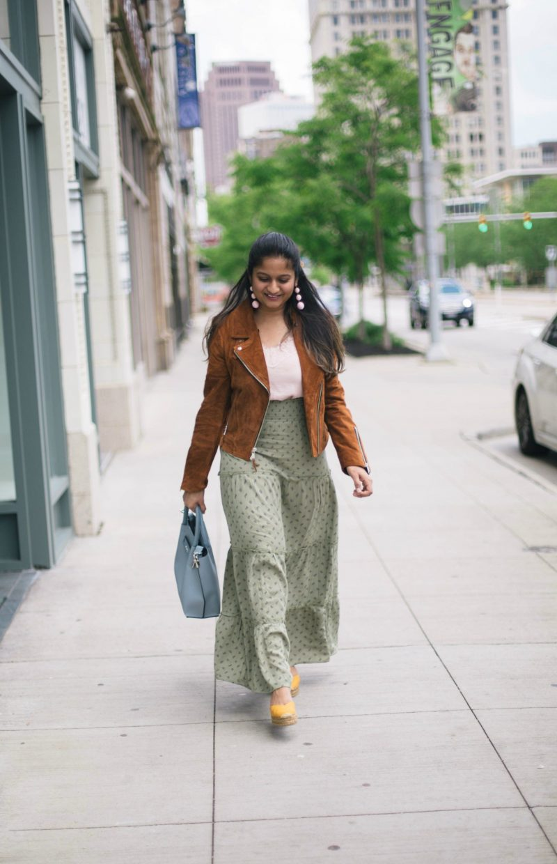 andrew-marck-velvet-moto-jacket - Maxi Skirts For Petites featured by popular Ohio modest fashion blogger, Dreaming Loud