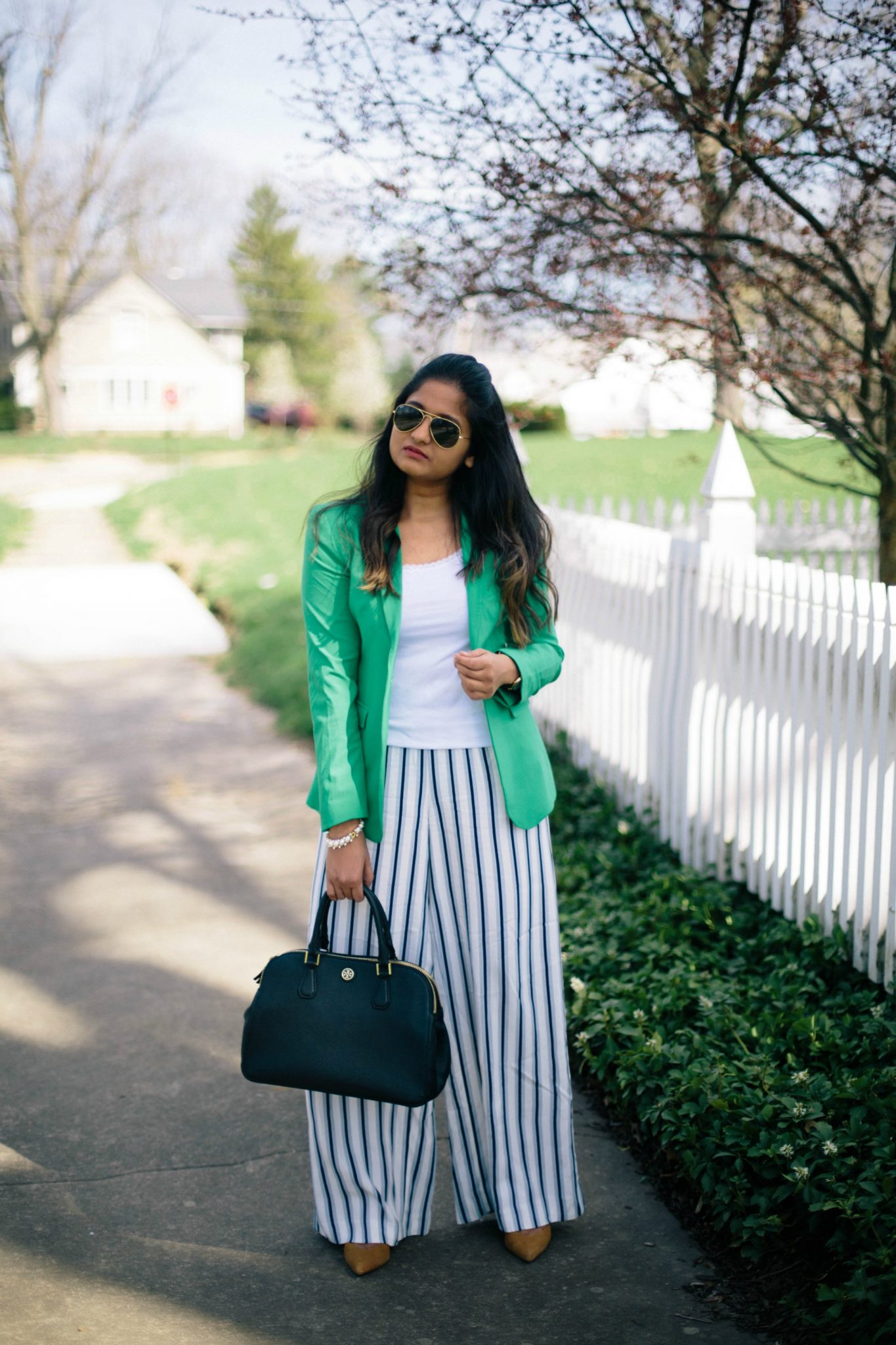 banana-republic-green-one-button-jacket - Spring to Summer Instagram Outfits featured by popular Ohio modest fashion blogger, Dreaming Loud