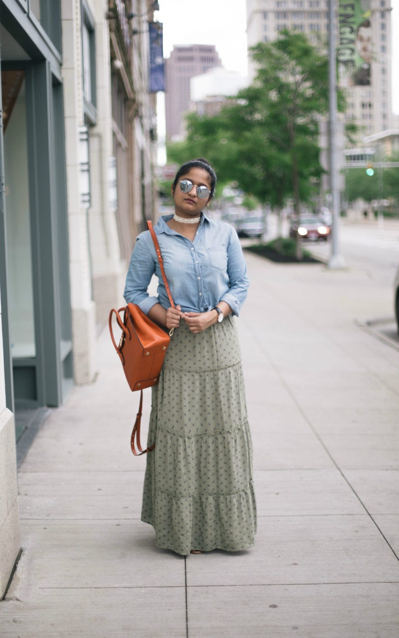 how-to-wear-chambray-shirt-with-skirts - Maxi Skirts For Petites featured by popular Ohio modest fashion blogger, Dreaming Loud