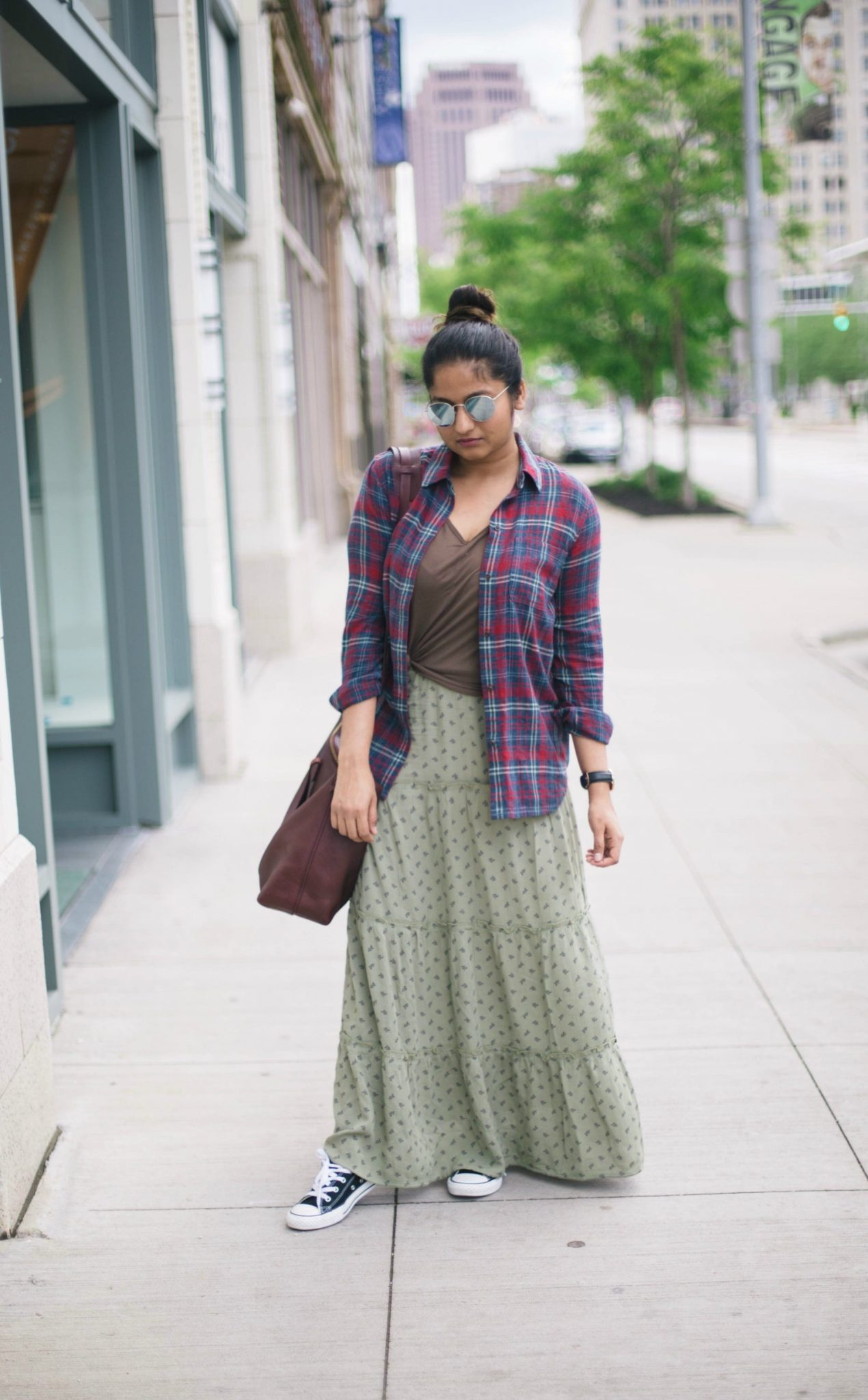 how-to-wear-converse-sneakers-with-maxi-skirts - Maxi Skirts For Petites featured by popular Ohio modest fashion blogger, Dreaming Loud