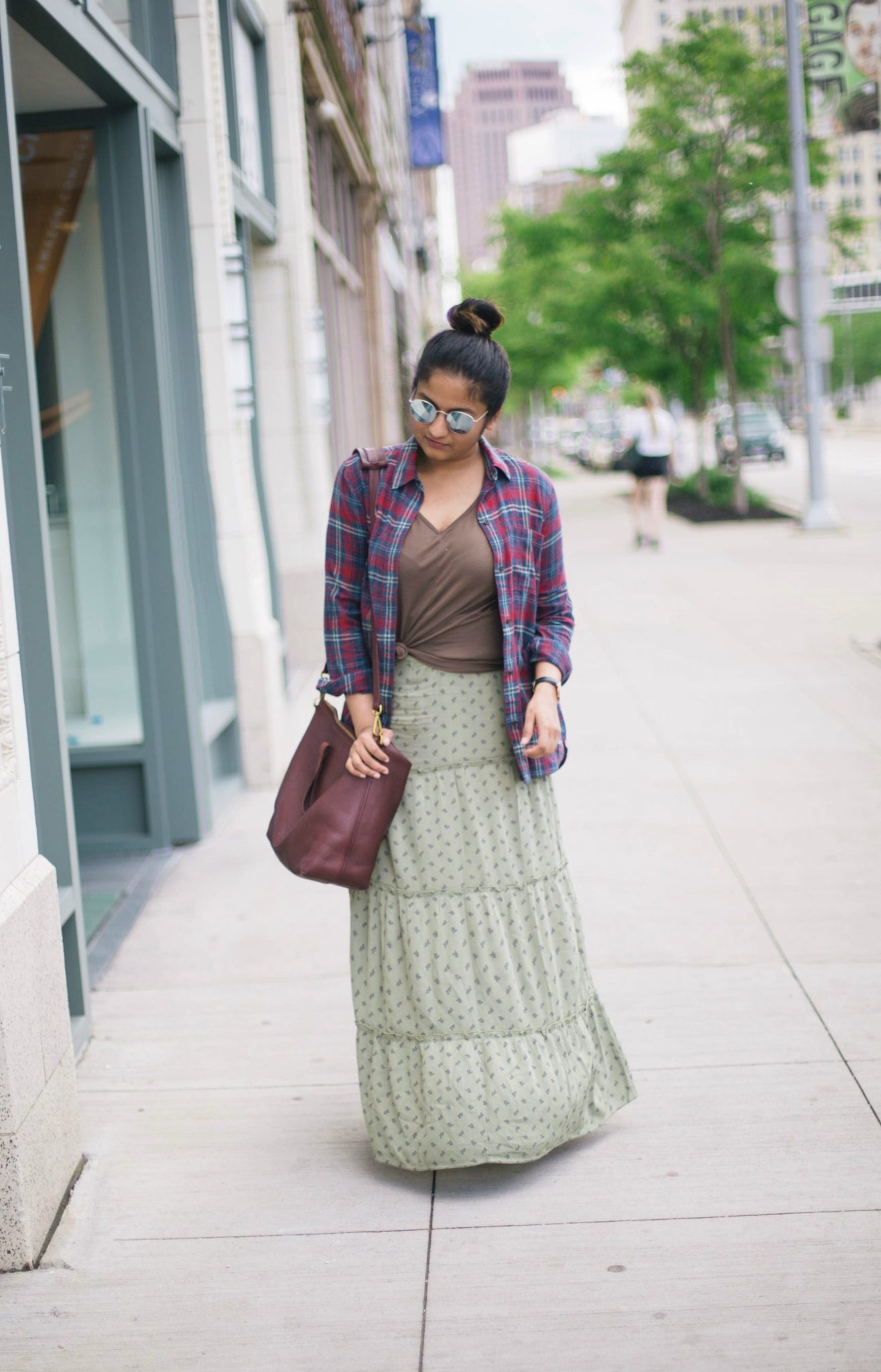 how-to-wear-plaid-shirt-with-maxi-skirt - Maxi Skirts For Petites featured by popular Ohio modest fashion blogger, Dreaming Loud