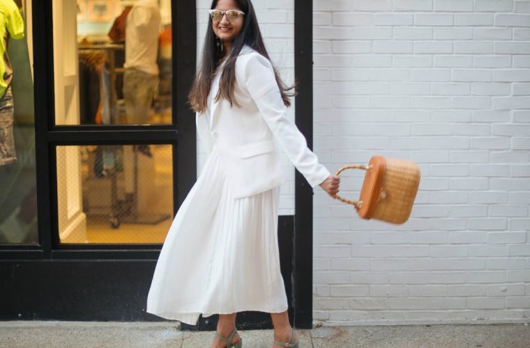 mural-white-structured-blazer - An All White Summer Outfit featured by popular Ohio modest fashion blogger, Dreaming Loud