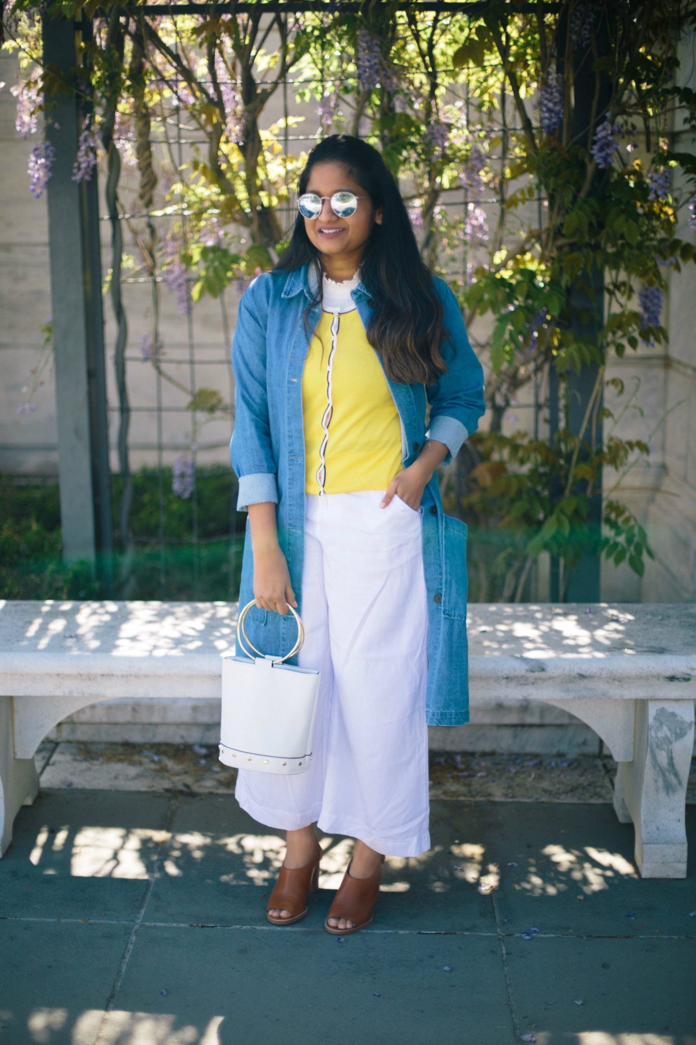 old-navy-white-culottes - Spring to Summer Instagram Outfits featured by popular Ohio modest fashion blogger, Dreaming Loud