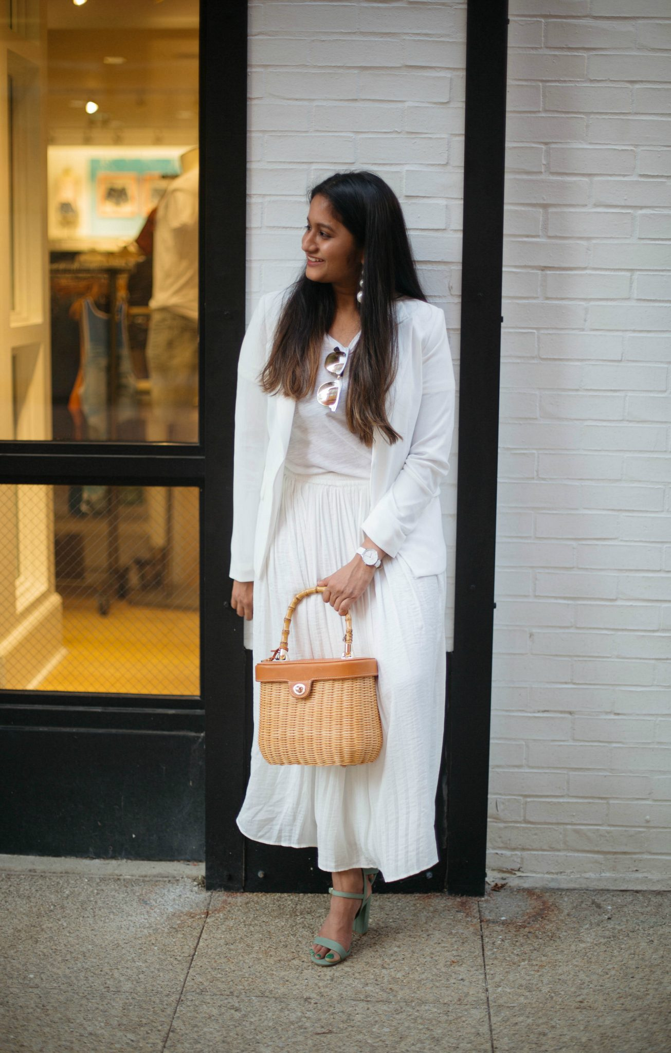 vince-camuto-pleated-midi-skirt-ivory - An All White Summer Outfit featured by popular Ohio modest fashion blogger, Dreaming Loud