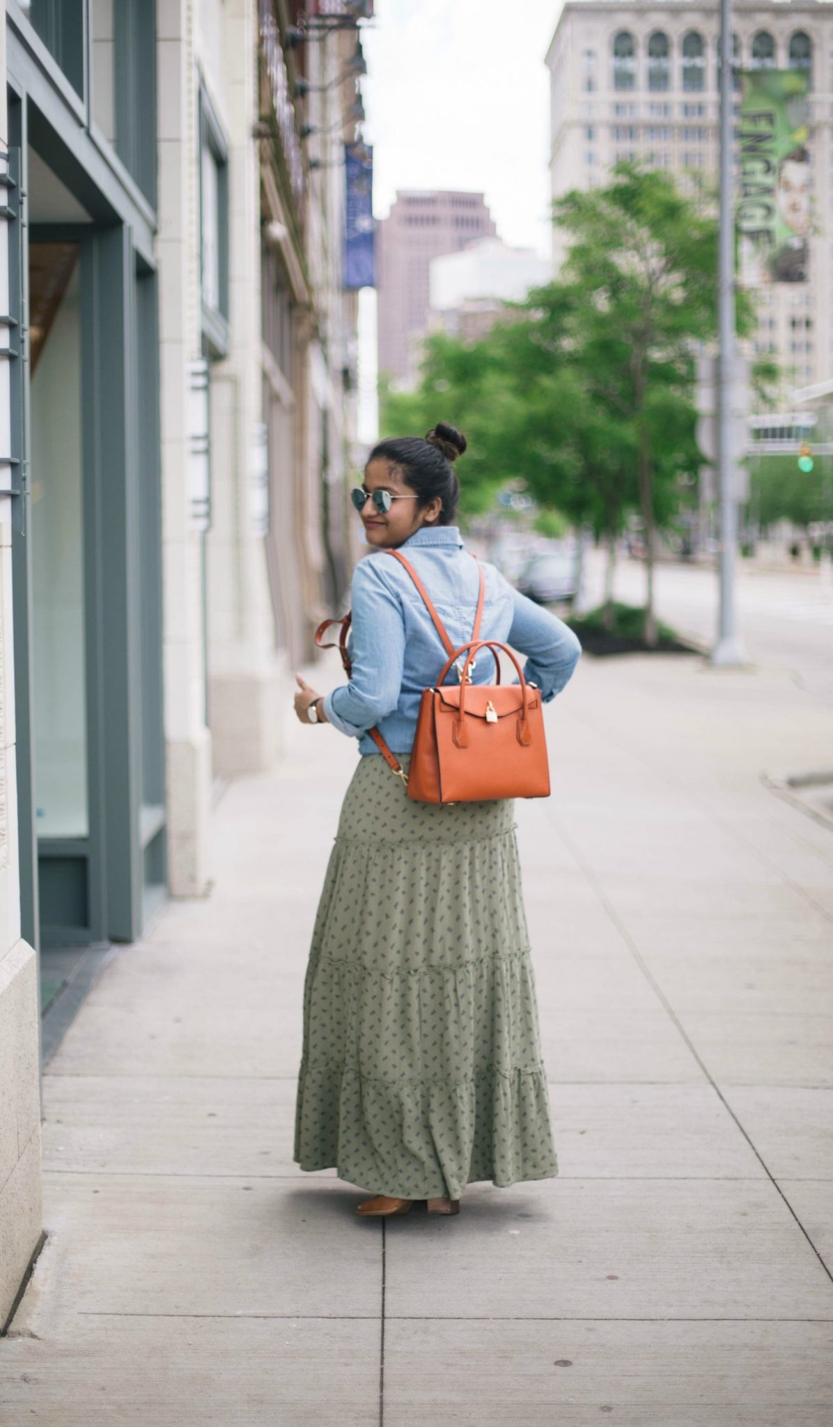 wearing-micheal-kors-all-in-one-mercer-bag - Maxi Skirts For Petites featured by popular Ohio modest fashion blogger, Dreaming Loud