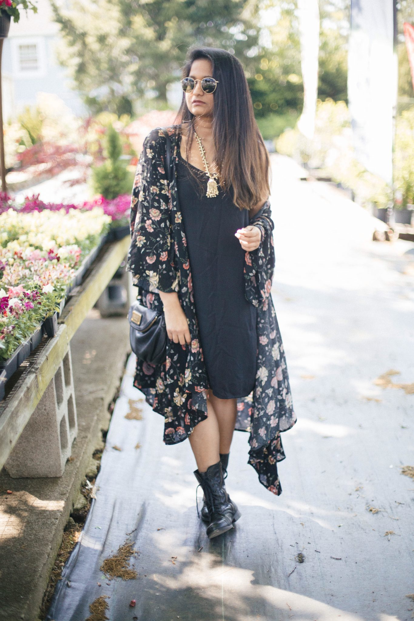 Merona-floral-kimono - Must Have Spring & Summer Lightweight Jackets featured by popular Ohio modest fashion blogger, Dreaming Loud | Lightweight Jackets by popular Maryland modest fashion blog, Dreaming Loud: image of a woman wearing a black chiffon floral print kimono, black dress, black utility boots, sunglasses, and black purse.