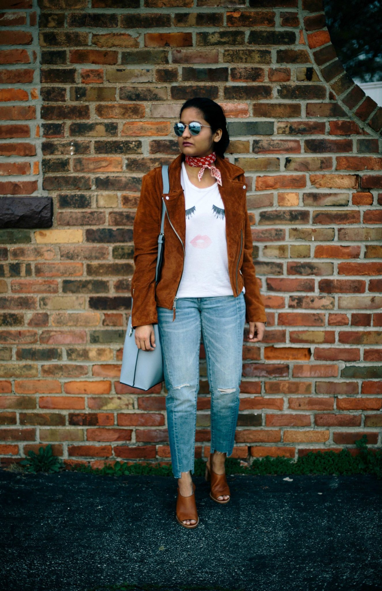Andrew-marc-sage-suede-jacket - Spring to Summer Instagram Outfits featured by popular Ohio modest fashion blogger, Dreaming Loud