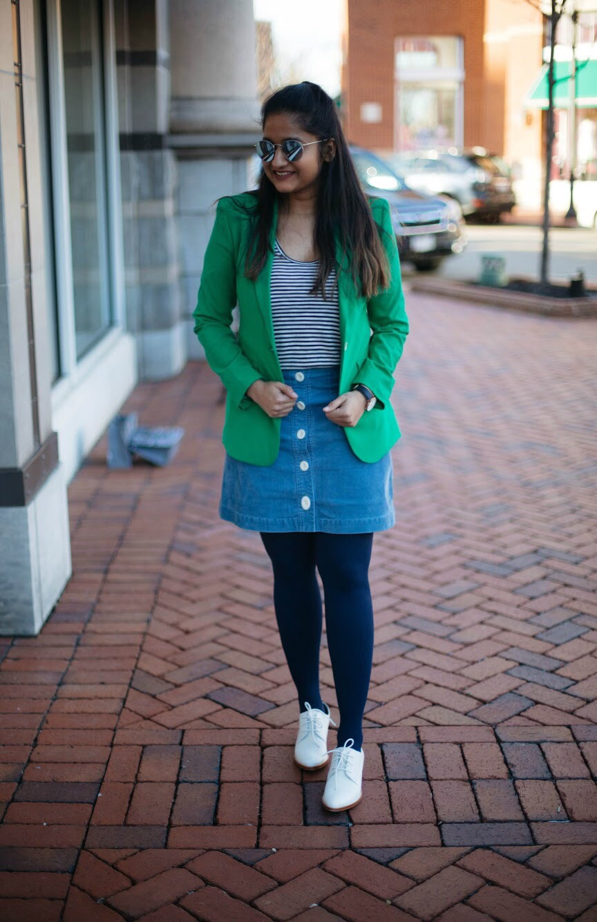 how-to-wear-green-blazer - Spring to Summer Instagram Outfits featured by popular Ohio modest fashion blogger, Dreaming Loud