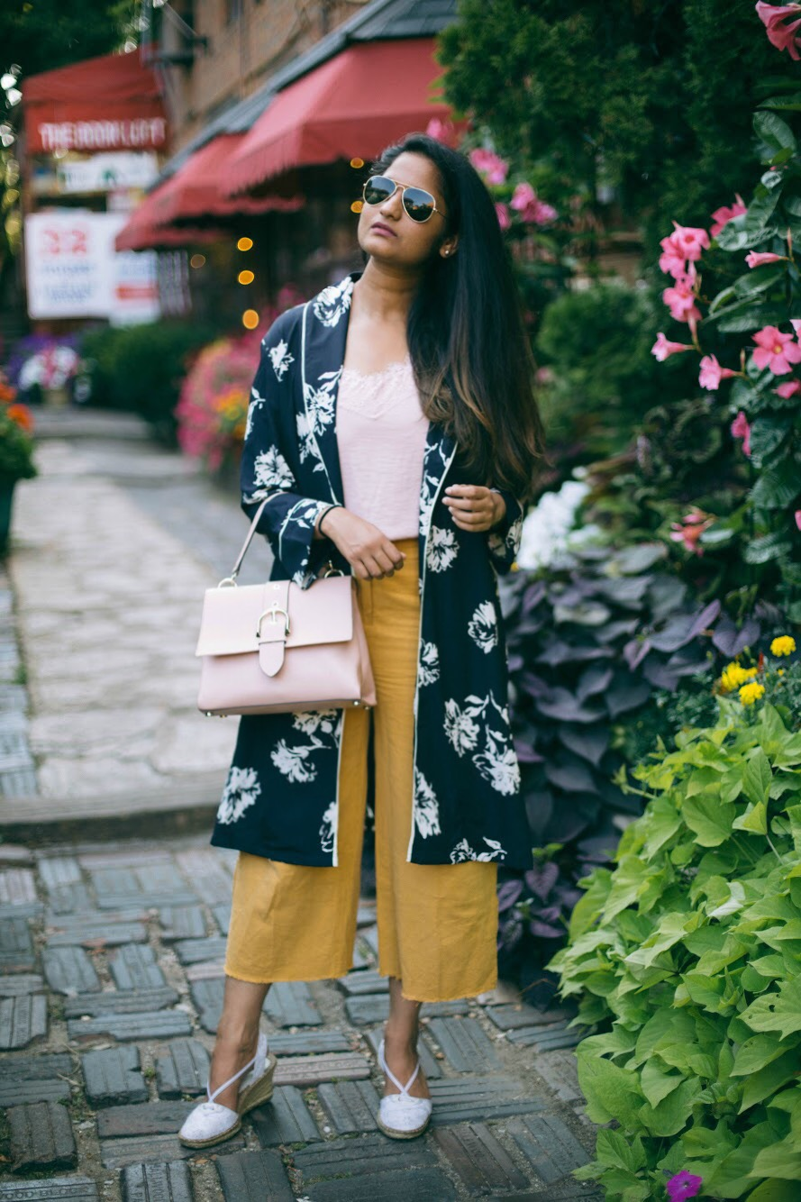Asos-wide-leg-linen-pants-with-raw-hem -1 - 3 Ways To Wear a Floral Kimono featured by popular Ohio modest fashion blogger, Dreaming Loud