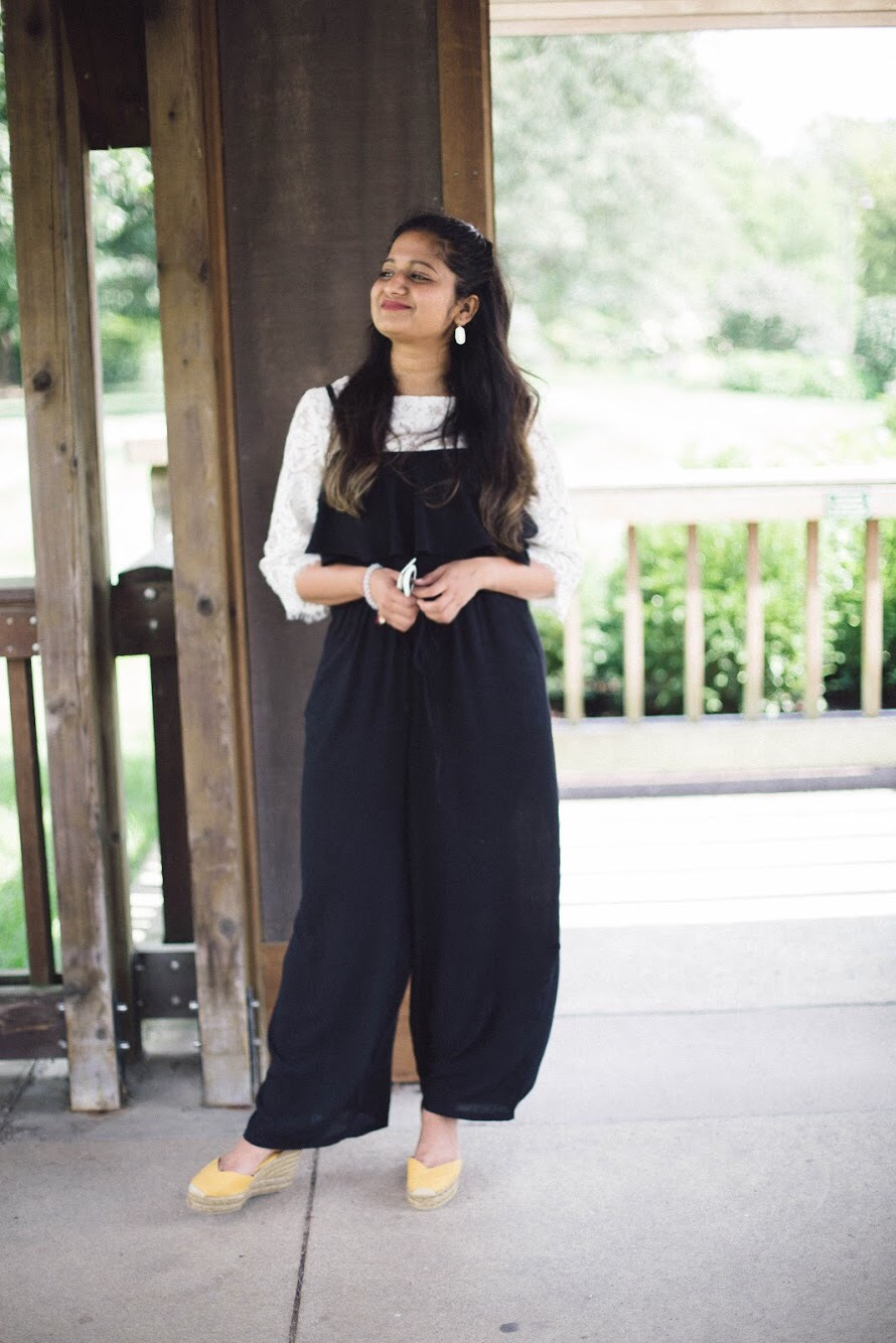 Lifestyle-blogger-Surekha-of-dreaming-loud-wearing-old-navy-ruffles-off-shoulder-jumpsuit-2 - Back To School Outfits For College Students featured by Ohio modest fashion blogger, Dreaming Loud