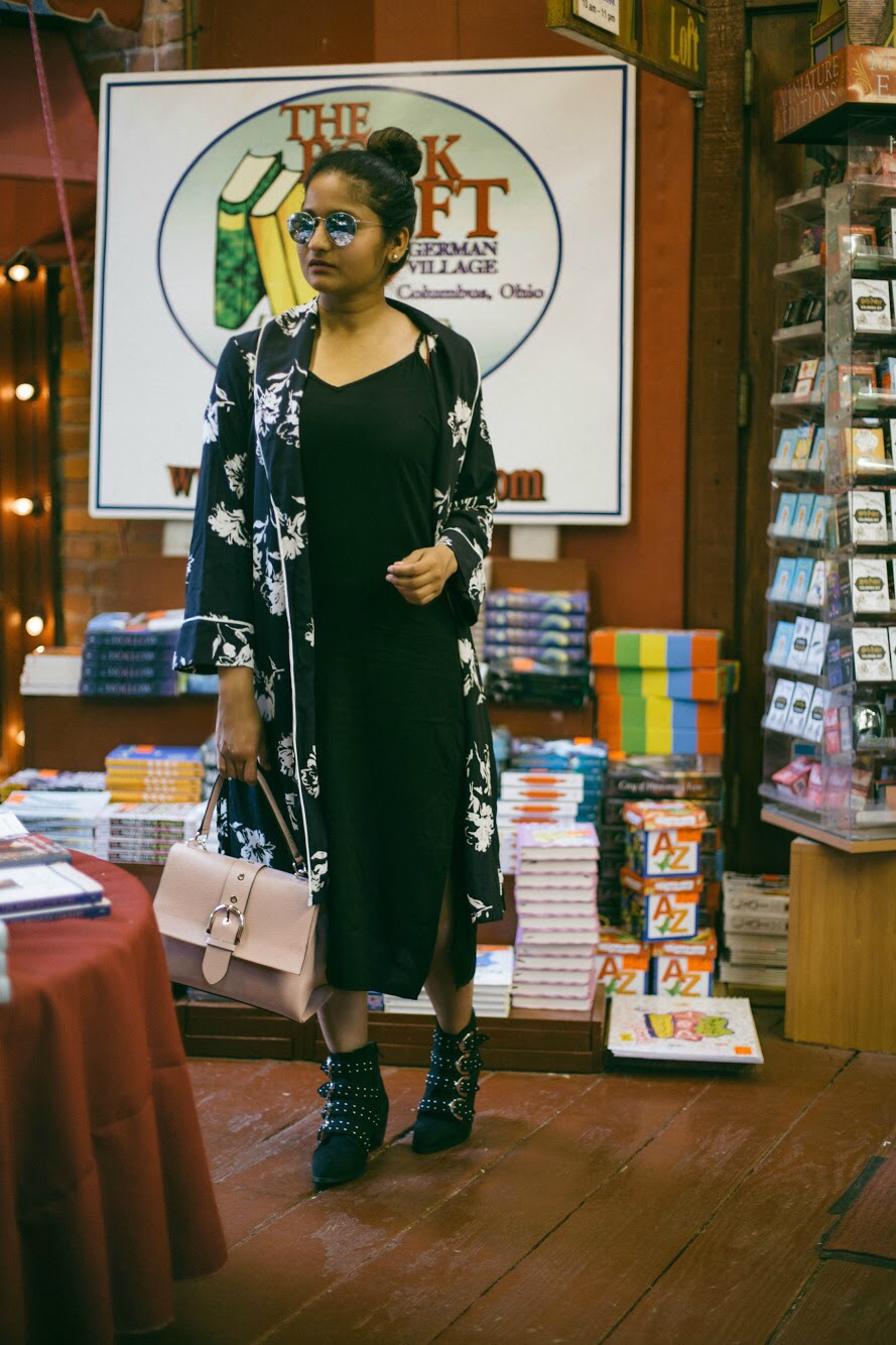 Splendid-tank-midi-dress-black-1 - 3 Ways To Wear a Floral Kimono featured by popular Ohio modest fashion blogger, Dreaming Loud