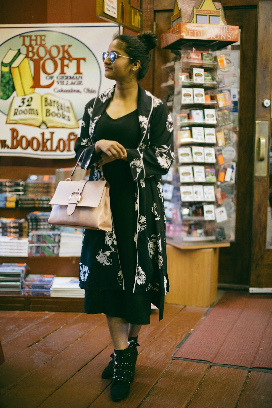 Splendid-tank-midi-dress-black - 3 Ways To Wear a Floral Kimono featured by popular Ohio modest fashion blogger, Dreaming Loud