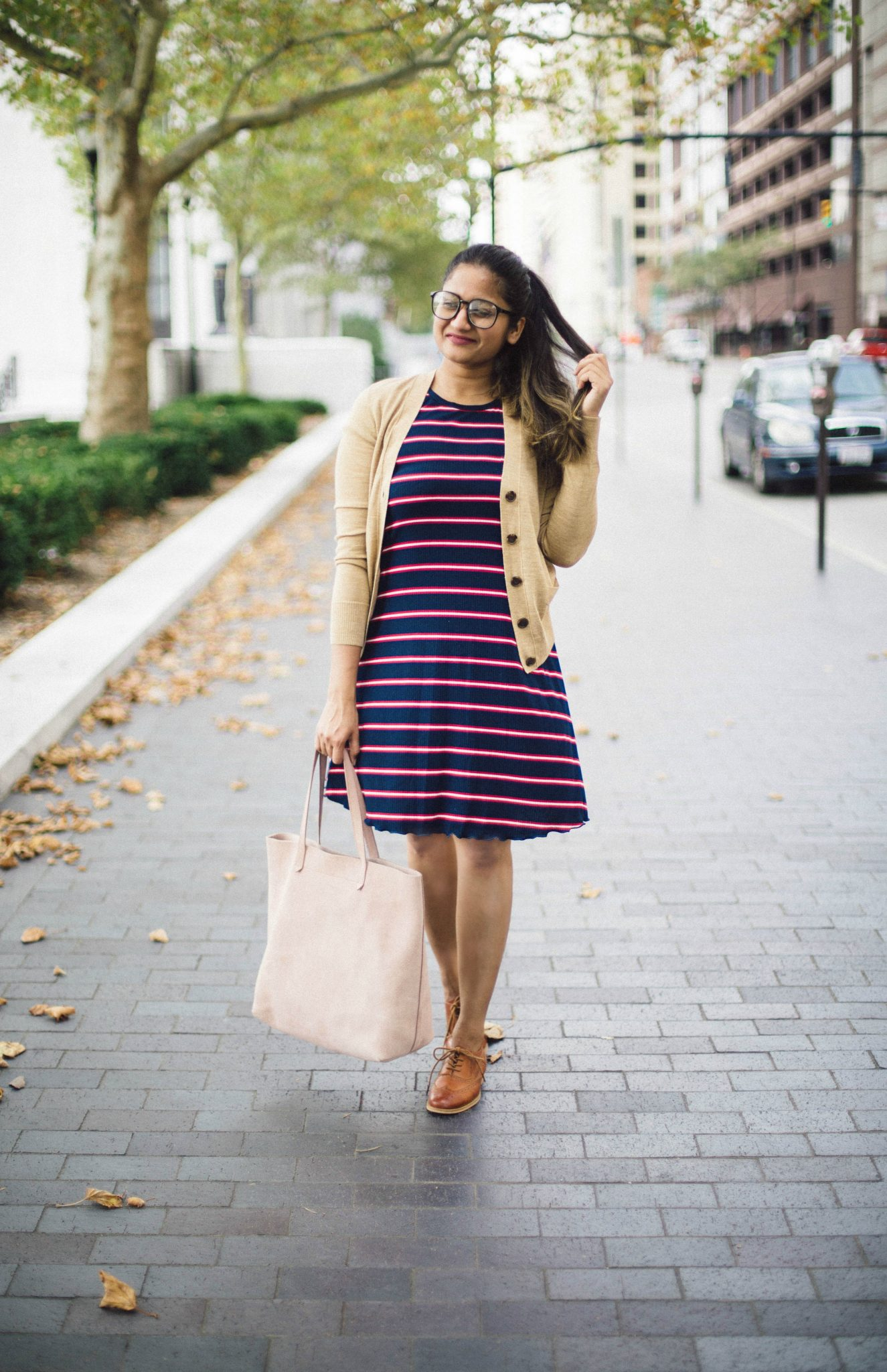 Target-mossimo-knit-ruffle-t-shirt-dress - Back To School Outfits For College Students featured by Ohio modest fashion blogger, Dreaming Loud