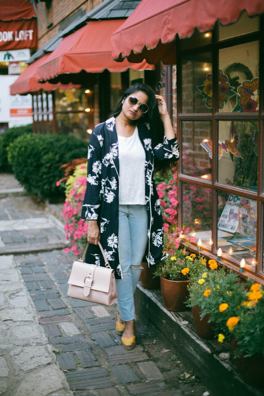 Treasure-and-Bond-High-Waist-Ankle-Skinny-Jeans - 3 Ways To Wear a Floral Kimono featured by popular Ohio modest fashion blogger, Dreaming Loud