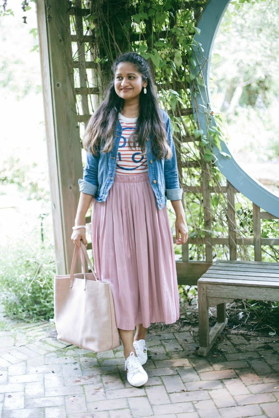 gap-pleated-midi-skirt-princess-pink-2 - Back To School Outfits For College Students featured by Ohio modest fashion blogger, Dreaming Loud