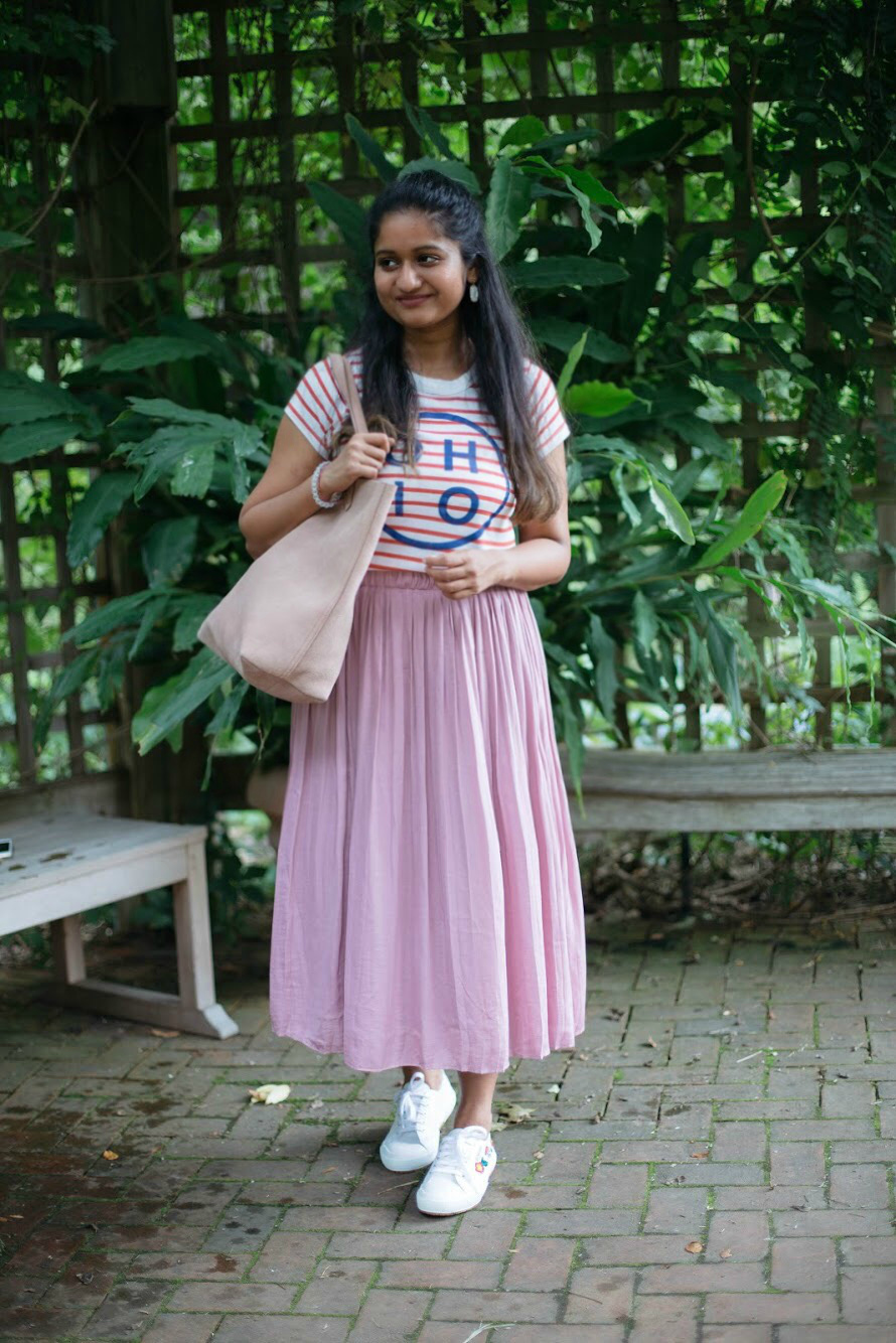 gap-pleated-skirt-princess-pink - Back To School Outfits For College Students featured by Ohio modest fashion blogger, Dreaming Loud