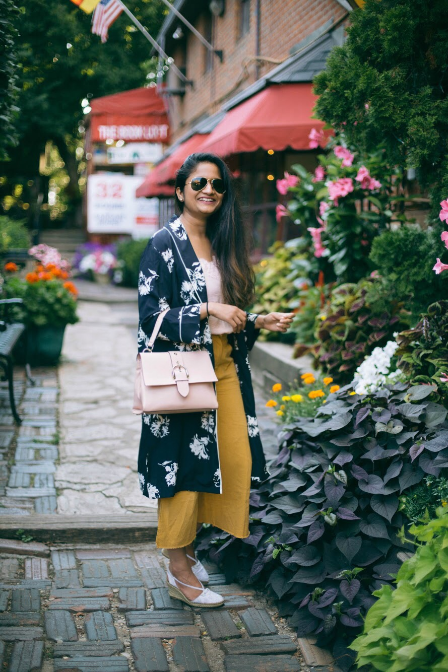 Lifestyle blog dreaming loud wearing Henri Bendel Riverside top handle bag - 3 Ways To Wear a Floral Kimono featured by popular Ohio modest fashion blogger, Dreaming Loud