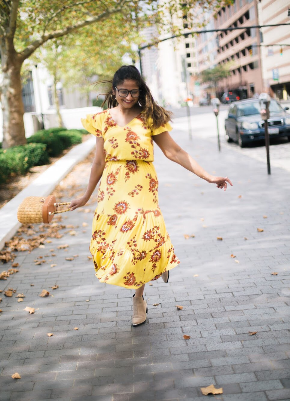 old-navy-Flutter-Sleeve-Waisted-Midi-dress-1 - Fall Essentials & Trends featured by popular Ohio modest fashion blogger, Dreaming Loud