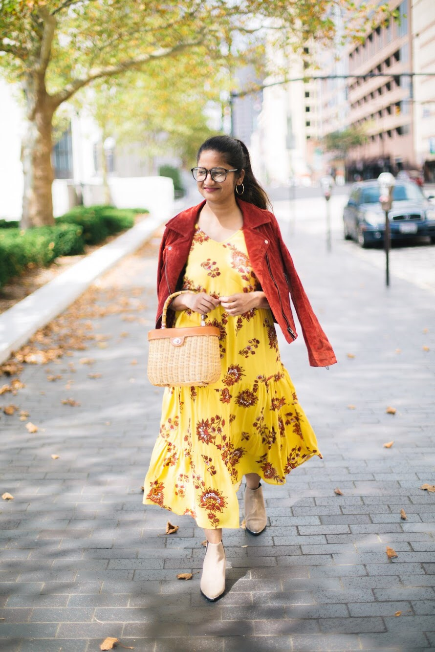 old-navy-Flutter-Sleeve-Waisted-Midi-dress - Fall Essentials & Trends featured by popular Ohio modest fashion blogger, Dreaming Loud