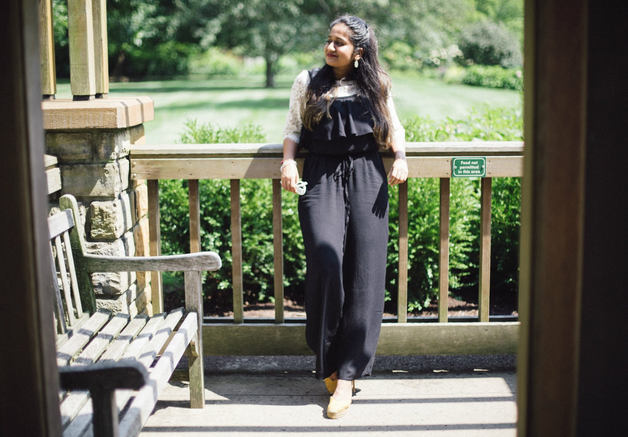 old-navy-ruffles-off-shoulder-jumpsuit-2 - Back To School Outfits For College Students featured by Ohio modest fashion blogger, Dreaming Loud