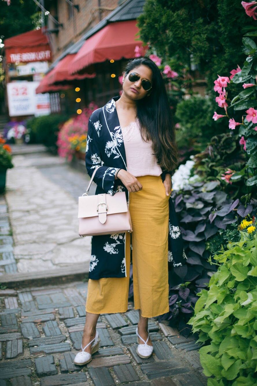 yellow-and-pink-combination-outfit-ideas - 3 Ways To Wear a Floral Kimono featured by popular Ohio modest fashion blogger, Dreaming Loud