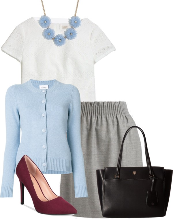 How-to-wear-light-blue-cardigan-with-grey-for-work-by-dreaming-loud - J.Crew factory light blue cardigan styled by popular Ohio modest fashion blogger, Dreaming Loud