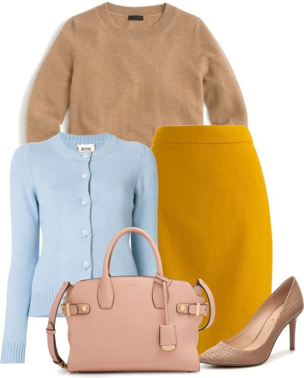 How-to-wear-light-blue-cardigan-with-mustard-and-cognac-by-dreaming-loud - J.Crew factory light blue cardigan styled by popular Ohio modest fashion blogger, Dreaming Loud