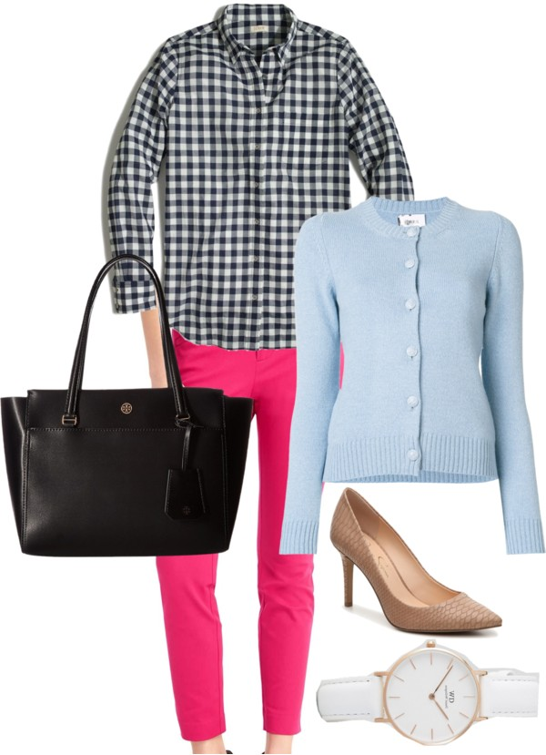 How-to-wear-light-blue-cardigan-with-pink-and-gingham-to-work-by-dreaming-loud - J.Crew factory light blue cardigan styled by popular Ohio modest fashion blogger, Dreaming Loud