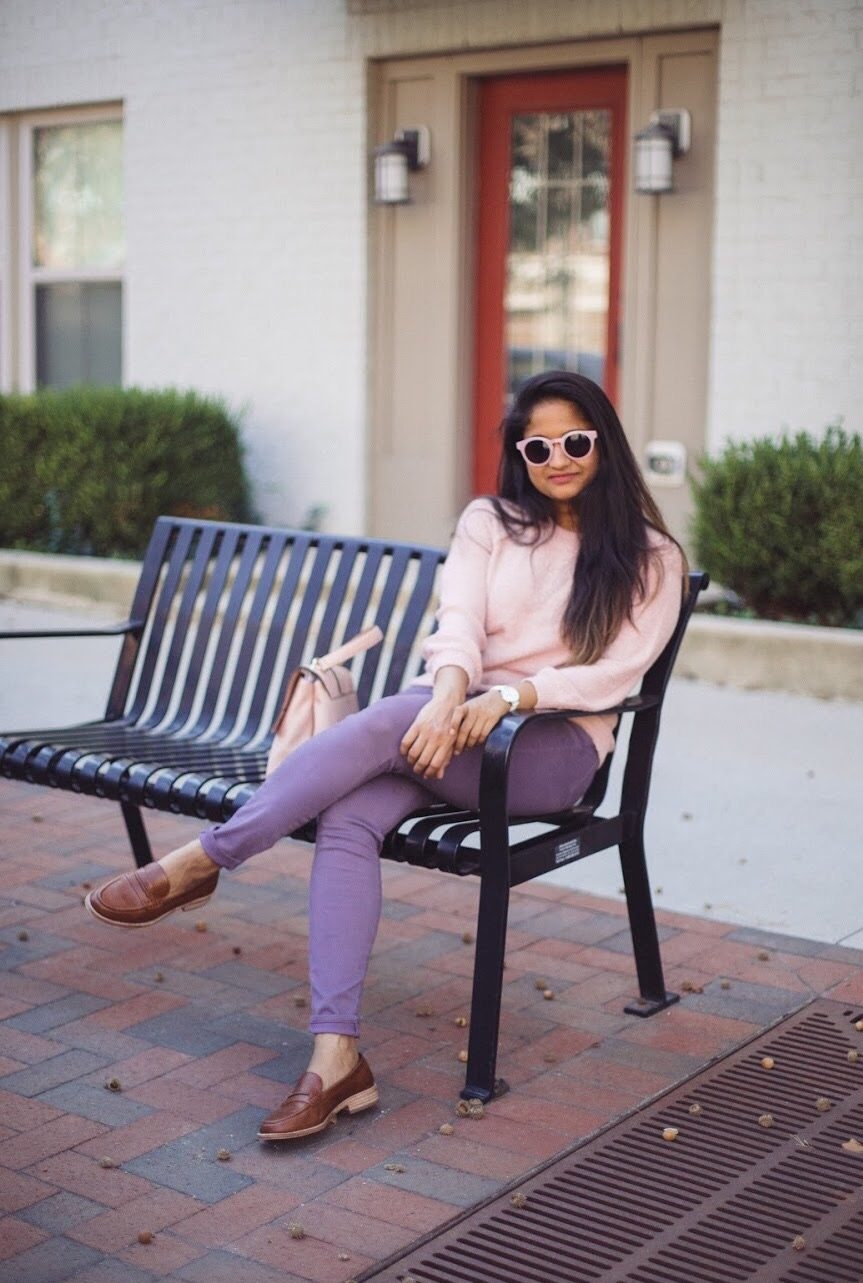 Lifestyle Blogger Surekha of Dreaming Loud wearing Madewell Elinor Loader in dark Chestnut | How to Wear Purple Jeans: 3 Unique Ways featured by popular Ohio modest fashion blogger, Dreaming Loud