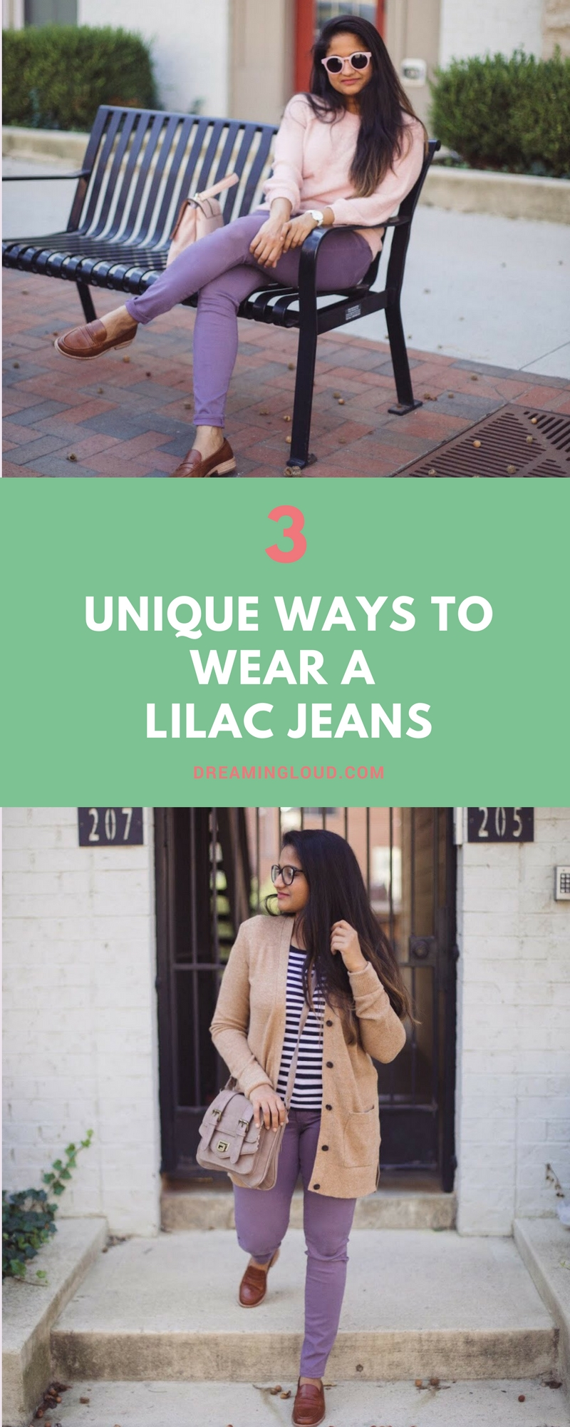 Lifestyle blogger Surekha of Dreaming Loud sharing 3 unique ways to wear lilac jeans | How to Wear Purple Jeans: 3 Unique Ways featured by popular Ohio modest fashion blogger, Dreaming Loud