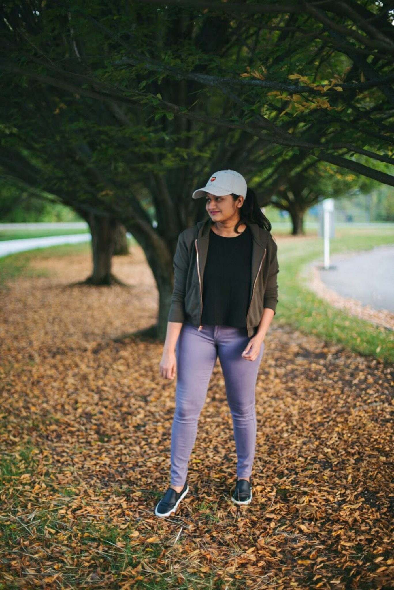 Lifestyle blogger Surekha of Dreaming Loud wearing lilac and olive color combo | How to Wear Purple Jeans: 3 Unique Ways featured by popular Ohio modest fashion blogger, Dreaming Loud