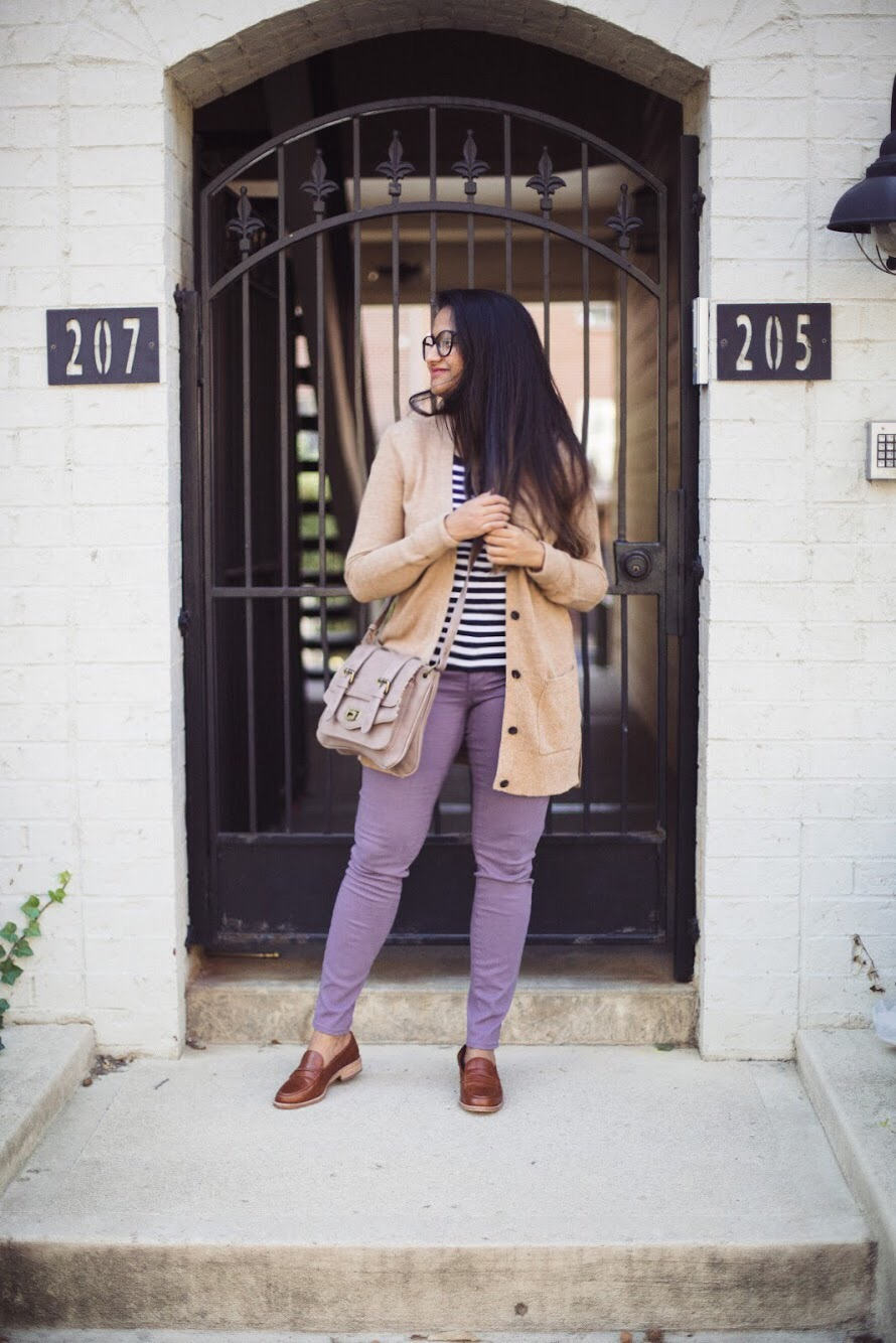 Lifestyle blogger Surekha of dreaming loud sharing 3 unique ways to wear a lilac jeans 1 | How to Wear Purple Jeans: 3 Unique Ways featured by popular Ohio modest fashion blogger, Dreaming Loud