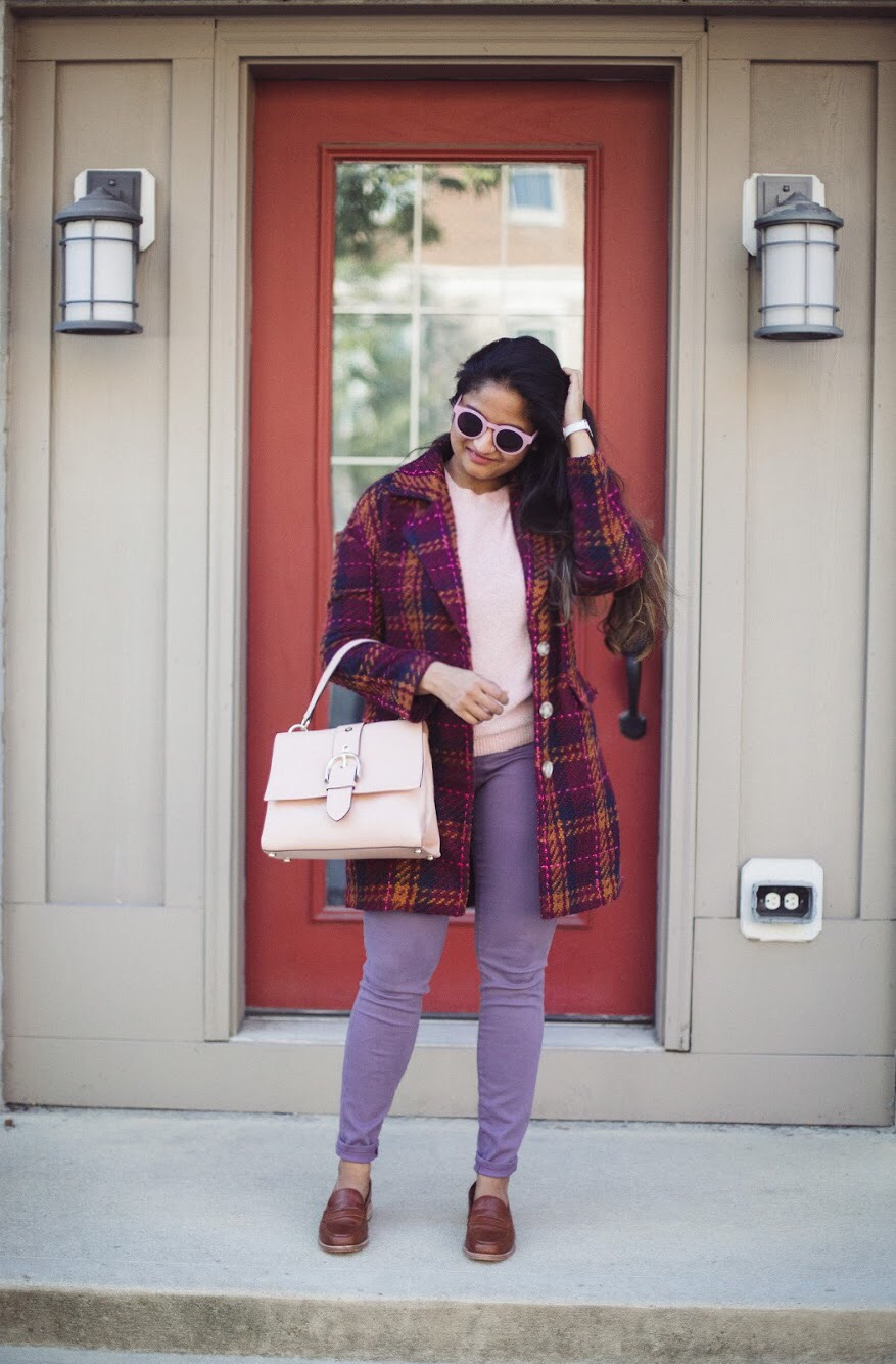 Lifestyle blogger Surekha of dreaming loud sharing 3 unique ways to wear lilac or purple jeans | How to Wear Purple Jeans: 3 Unique Ways featured by popular Ohio modest fashion blogger, Dreaming Loud