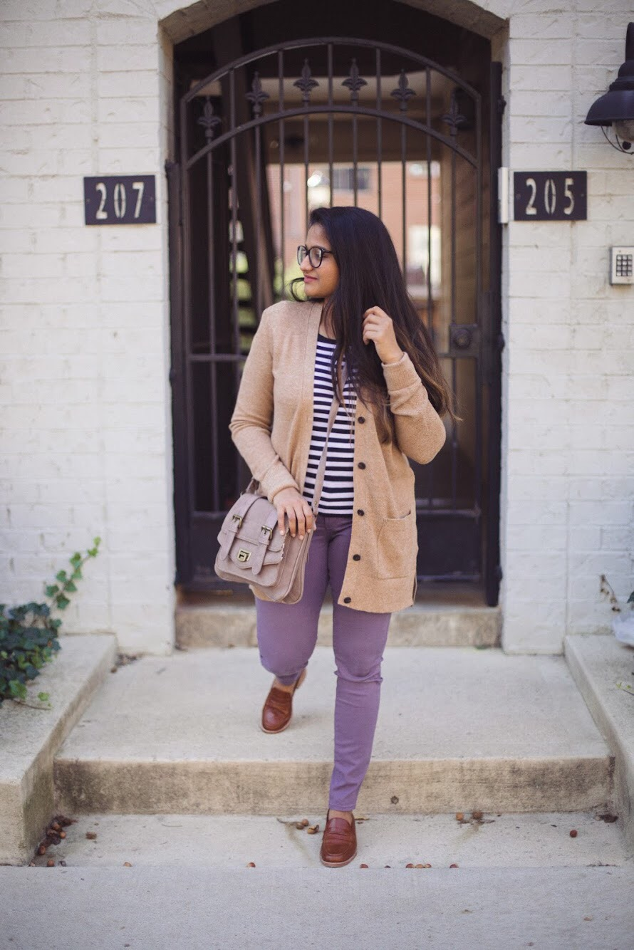 Lifestyle blogger Surekha of dreaming loud sharing how to wear lilac or purple jeans in 3 ways for fall | How to Wear Purple Jeans: 3 Unique Ways featured by popular Ohio modest fashion blogger, Dreaming Loud