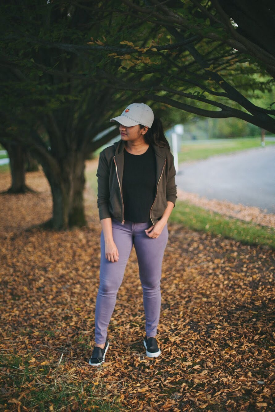 Lifestyle blogger Surekha of dreaming loud wearing loft legging in sateen five pocket in smokey purple 1 | How to Wear Purple Jeans: 3 Unique Ways featured by popular Ohio modest fashion blogger, Dreaming Loud