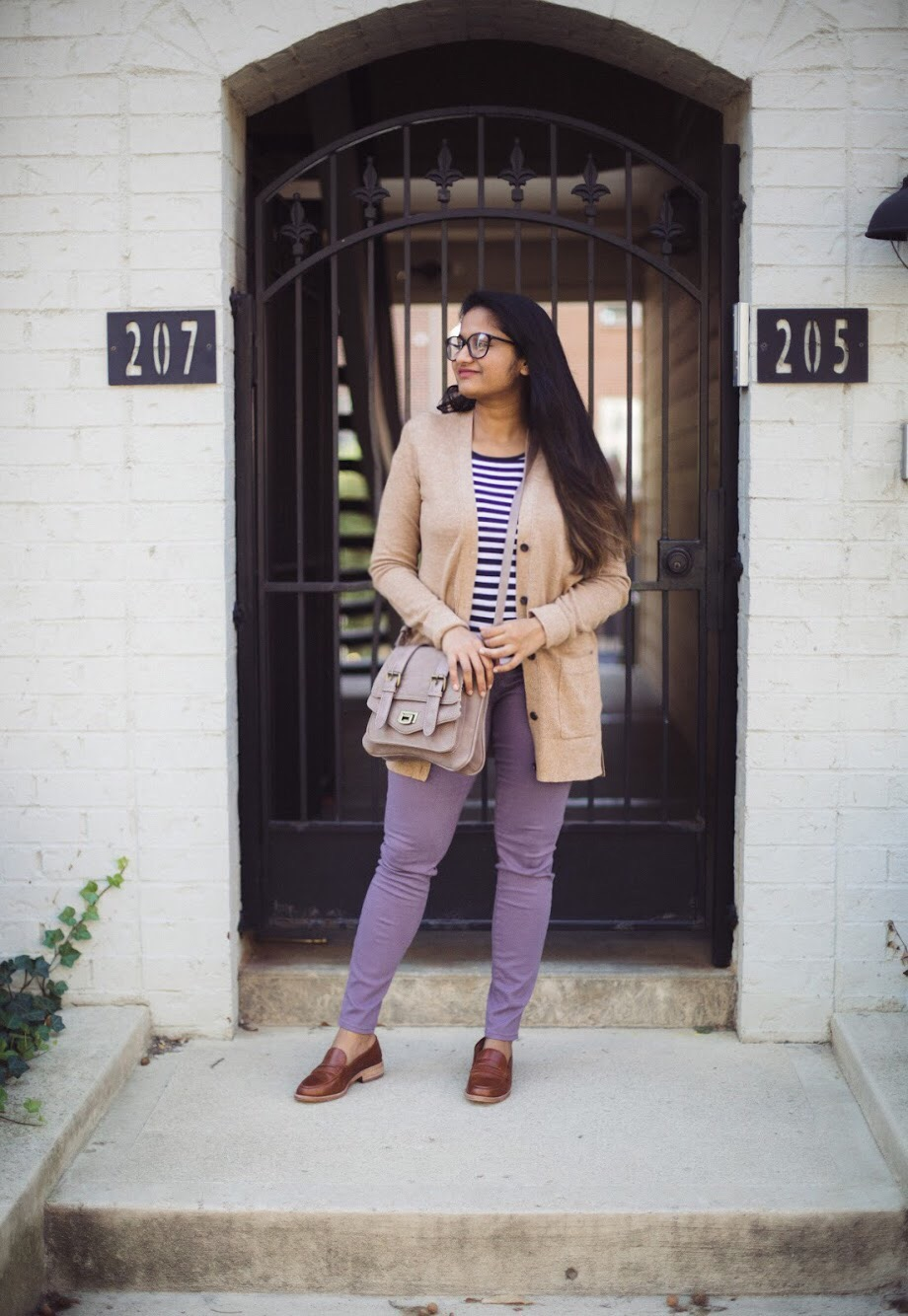 Lifestyle blogger Surekha of dreaming loud wearing loft legging in sateen five pockets in smoky purple | How to Wear Purple Jeans: 3 Unique Ways featured by popular Ohio modest fashion blogger, Dreaming Loud