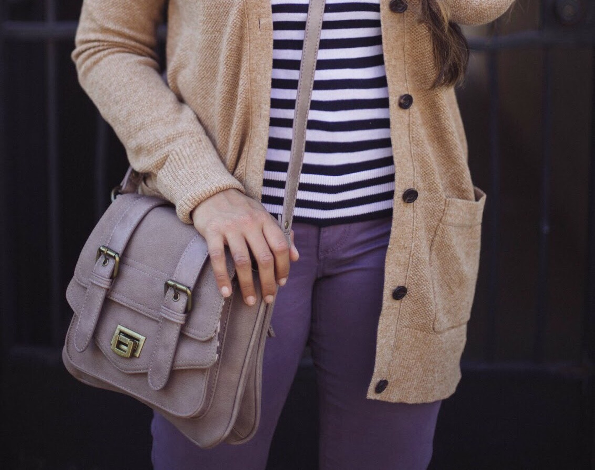 Lifestyle blogger Surekha of dreaming loud wearing pinkstix military crossbody bag | How to Wear Purple Jeans: 3 Unique Ways featured by popular Ohio modest fashion blogger, Dreaming Loud