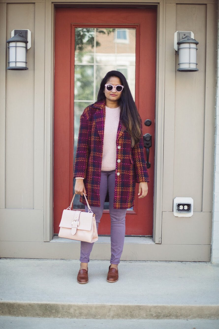 Lifestyle blogger Surekha of dreaming loud wearing target a new day plaid top coat in Cherry | How to Wear Purple Jeans: 3 Unique Ways featured by popular Ohio modest fashion blogger, Dreaming Loud
