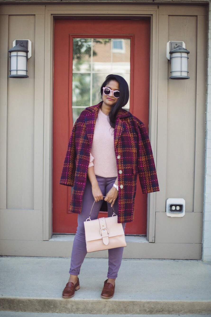Lifestyle blooger Surekha of Dreaming Loud wearing Henri Bendel Riverside top handle satchel in rose | How to Wear Purple Jeans: 3 Unique Ways featured by popular Ohio modest fashion blogger, Dreaming Loud